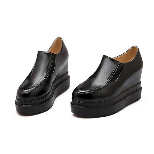 Balamasa Flickor Amerikansk Muffin Buttom Runt Tå Imiterade Läder Pumpar-skor Svart