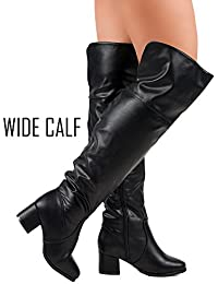 Women's Over The Knee Stretch Boot - Trendy Pullon Low Block Heel Comfortable Shoe - Zipper Closure – Available In Medium and Wide Calf