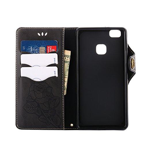 Funda Huawei P9 Lite, CaseLover Folio Cartera Piel PU Carcasa para P9 Lite Libro Cuero Tapa con Cierre Magnético, Soporte Plegable, Billetera y Tarjeta Ranura Cubierta Leather Caja - Naranja Negro