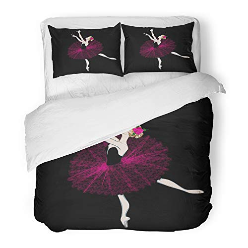 Emvency Decor Duvet Cover Set King Size Free Hand Drawing of Ballerina Ballet Dancer Girl Freehand Sketch Classical Dance 3 Piece Brushed Microfiber Fabric Print Bedding Set Cover ()