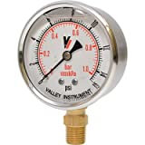 Valley Instrument Grade A Stem Mount 2 1/2in. Glycerin Filled Gauge - 0-15 PSI
