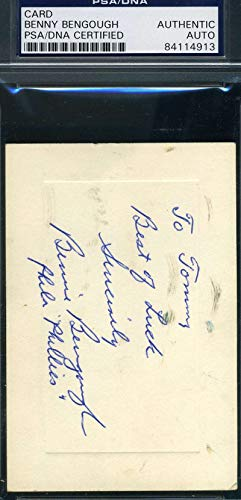 BENNY BENGOUGH PSA DNA COA Autograph 3x5 Note Signed Index Card