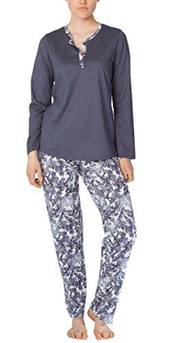 Calida Pajama - Calida Cotton PJs - Long Sleeve 100% Cotton Knit Pajamas - Mystic Slate (Slate Gray, Large (14-16))