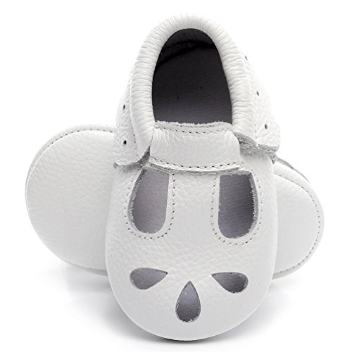 - HONGTEYA Baby Girls Shoes Soft Sole T-Strap Leather Baby Moccasins Crib Infant Toddler Shoes (14cm/18-24months, White)