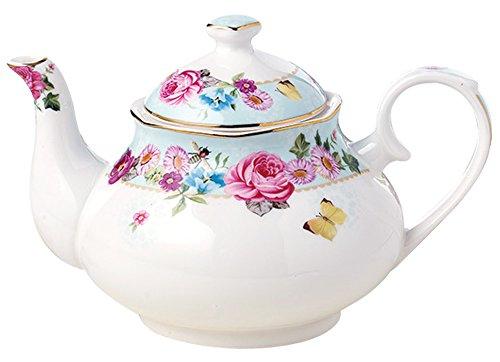 - Jusalpha Royal Floral Fine Bone China Rose Vintage Teapot (G)