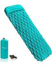 Ryaco Luchtmatras, draagbaar, ultralicht, opblaasbaar, isomat met hoofdkussen, voor camping, outdoor, wandelen, strand