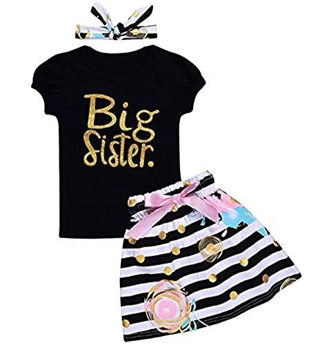 Newborn Little Sister Baby Little Girls Skirts Leggings Pants Gifts Outfits Set (Black-Big Sister Short, 2-3T)
