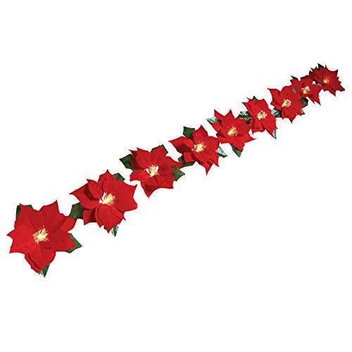 Collections Etc Fiber Optic Poinsettia Solar Light String Christmas Decoration