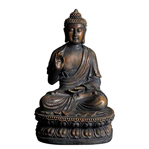 ARAIDECOR Buddha Sculpture Decor for Home & Outdoor Garden Statue - 15 x 8.7 x 10.2 Inches