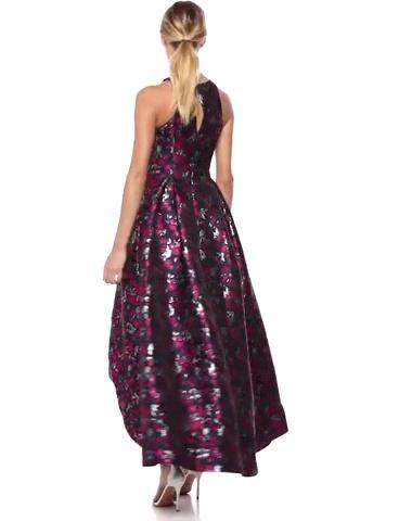 Aidan by Aidan Mattox Women's Floral Printed Jacquard High-Low Gown