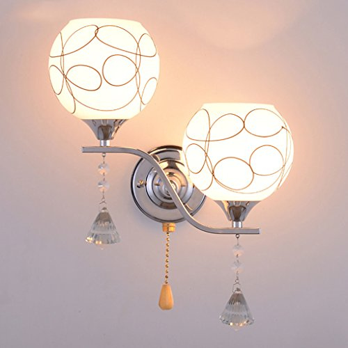 2 Head Modern Simple Metal Plating Chassis Frosted Glass Lampshade LED Wall Sconces With Pull Line Switch