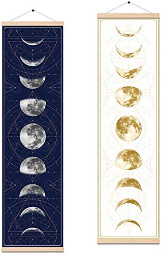 Tapestry Wall Hanging Full Growth Cycle The Moon Phases Scroll Banner Canvas Poster Home Apartment Bedroom Wall Art Decoration with Frame 12 X 43.5 Blue White Moon Phase