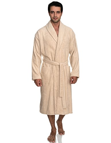 TowelSelections Men's Robe, Turkish Cotton Terry Shawl Bathrobe X-Small/Small Creme Brulee
