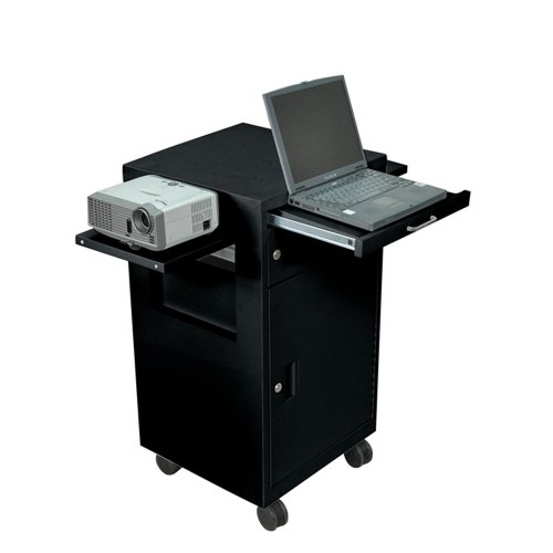 Luxor Black Steel Multi Media Presentation Cart with 2 Drop Leaf and Pullout (Multimedia Presentation Cart)