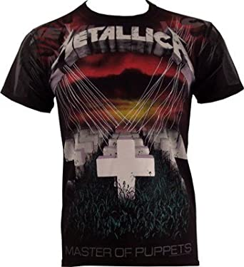 001645025cfc87 Metallica Master Of Puppets - Faded Allover T-Shirt black  Amazon.co ...