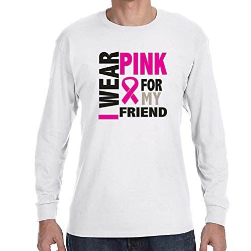 Adult's Pink For My Friend Breast Cancer Awareness White Long Sleeve -