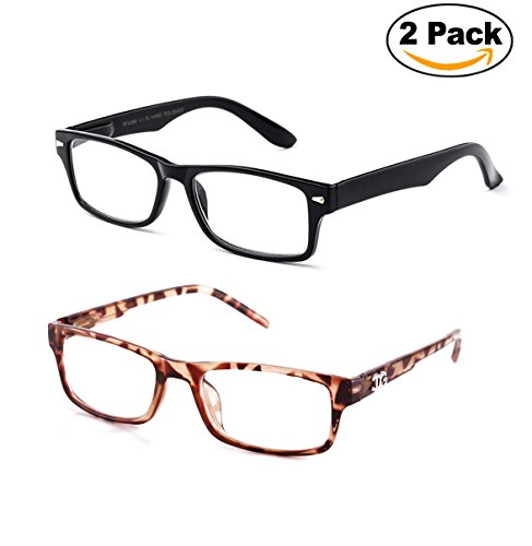Newbee Fashion - IG Unisex Clear Lens Slim Light Weight Small Plastic Rectangular Frame Clear Lens Glasses with Spring Temple 2 Pack Black & Tortoise