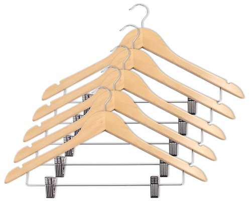 Closet Complete Wood Suit Hanger with Pant/Skirt Clips, Distressed Natural, Set of 5 - Distressed Natural
