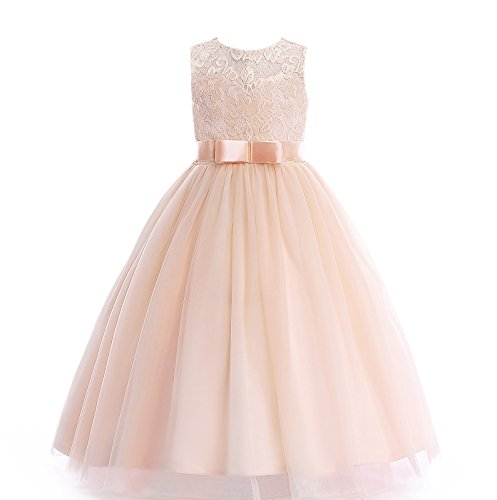 Glamulice Girls Lace Bridesmaid Dress Long A Line Wedding Pageant Dresses Tulle Party Gown Age 3-16Y (15-16Y, O-Champagne)