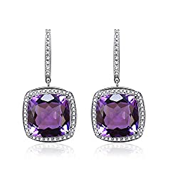White Gold Dangle Amethyst Diamond Earring