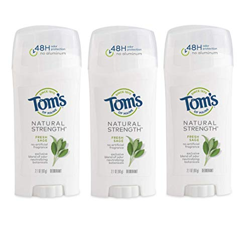 (Tom's of Maine Natural Strength Deodorant, Natural Deodorant, 48-Hour Odor Protection, Fresh Sage, 3 Pack)