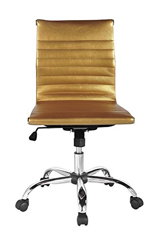 Winport Furniture WF-5052L Mid-Back Leather Armless Office/Home Desk Chair, Gold