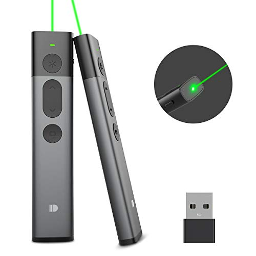 Doosl Upgraded Presentation Remote Clicker Green Light, Metal Powerpoint Clicker 400mAH Rechargeable Hyperlink PPT Office Wireless Presenter Remote for Mac Laptop ()