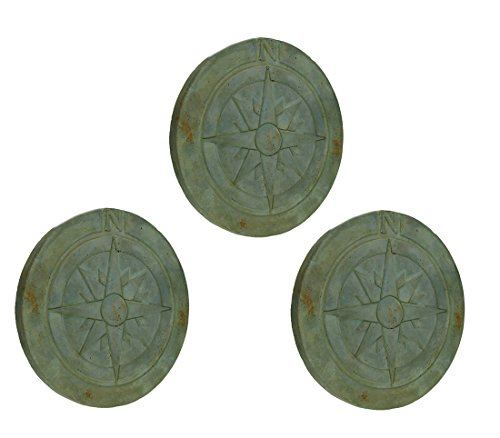Things2Die4 Compass Rose Verdigris Finish 10 Inch Round Cement Step Stone Set of 3 (Path Verdigris)