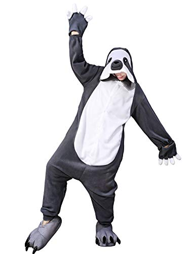 Halloween Dark Grey Sloth Onesie Halloween Cosplay Costume Pajamas Halloween Cute Funny Cartoon Animal Character Teens Teenagers Toddler Girls Adult Kids Women Men -