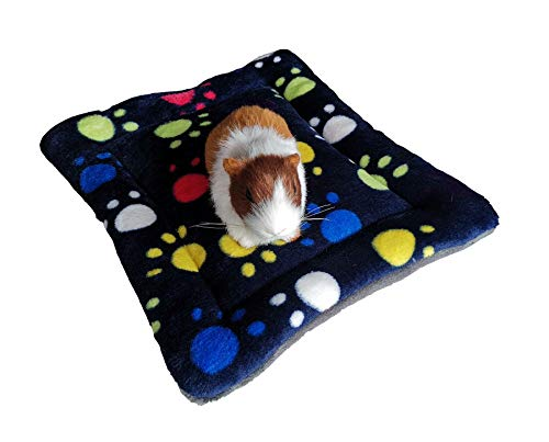 WOWOWMEOW Guinea-Pigs Warm Bed Mat Small Animals Cage Cozy Bed Blanket for Bunny, Hamster, Squirrel, Hedgehog, and Chinchilla (Paws-Multi-Colored)