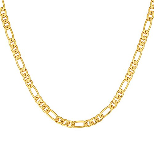 - SWOPAN 18K Real Gold Plated 5MM Wide Figaro Chain Link Necklace Pendant Men Women Gold-Plated Classic Hip Hop Punk Fashion Jewelry 18K Stamp, 24