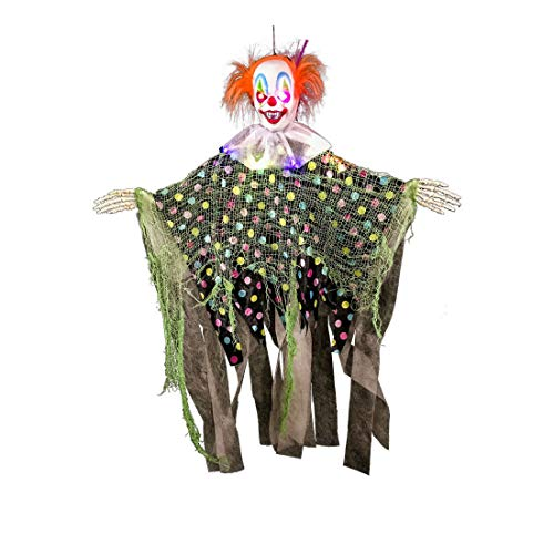 Halloween Haunters Hanging Scary Circus Clown Prop Decoration Flashing LED Eyes]()