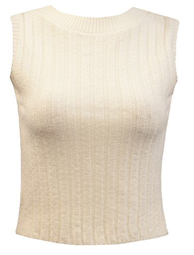 Cropped Sweater Vest (Crazy Girls Womens Crew Neck Ribbed Knitted Sleeveless Cropped Jumper Top)