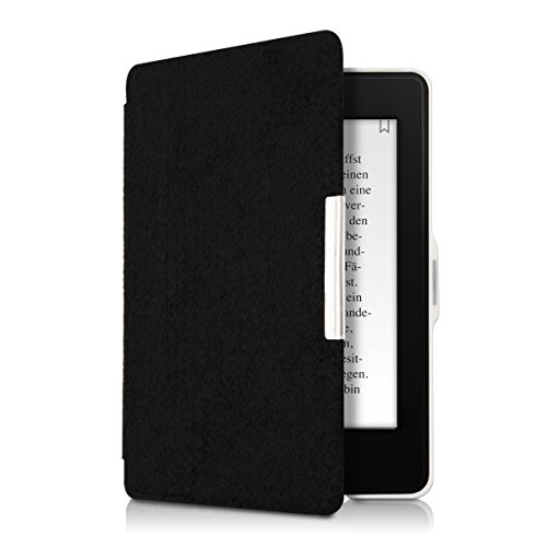 kwmobile Case for Amazon Kindle Paperwhite - Book Style Felt Fabric Protective e-Reader Cover Folio Case - black by kwmobile (Image #8)