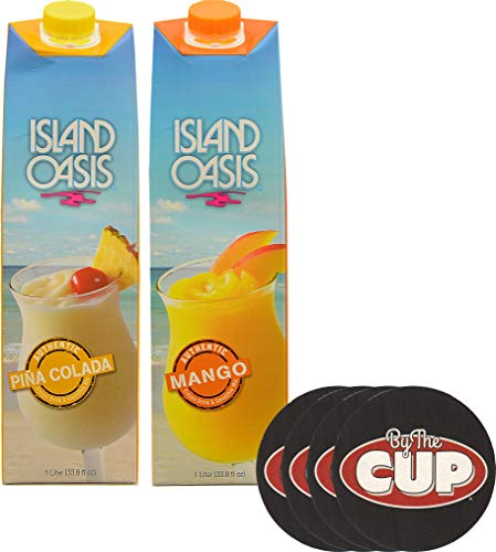 - Island Oasis Drink Mix Variety, Pina Colada and Mango 1 Liter Each, with Set of By The Cup Coasters
