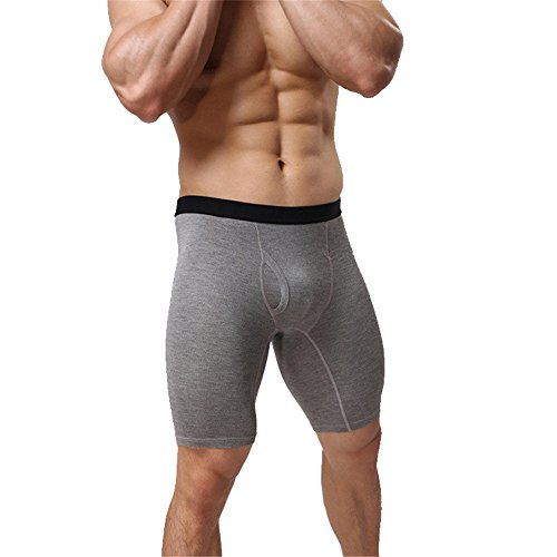 Sruier Men's Boxer Shorts Cotton Long Leg Underwear (XL, Light Grey)