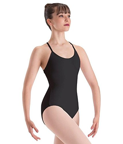 Motionwear Draped Back, Camisole Front Leotard, Black, Petite  (Supplex Camisole)