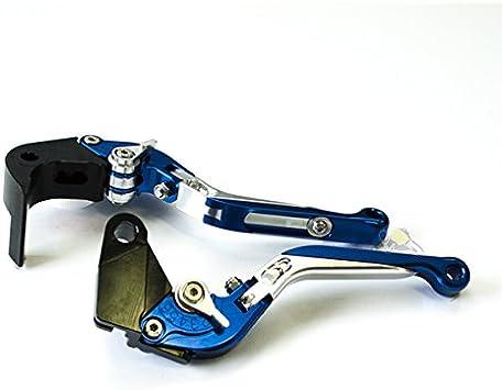Compatible BMW #6 Bleu noir bleu Paire leviers moto racing Flip Up ajustable repliable S1000RR 2010-2014 S1000R 2014