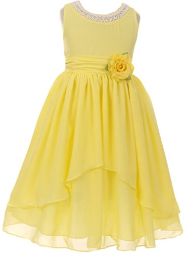 Collection Beaded Neckline Dress - Little Girls Dress - Chiffon Beaded Neckline Asymmetric Ruffles Flower Girls Dress Lemon 6 (64K03K)