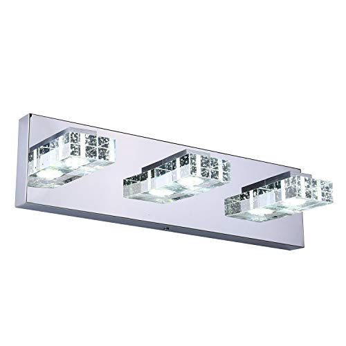 Lightess Modern LED Vanity Light 9W 3-Light 18in Long Crystal Bathroom Wall - Mirrors Over Bathroom Splash