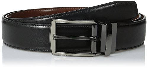Perry Ellis Men's Portfolio Hi-Lo Belt, Black/Brown Reversible, 36