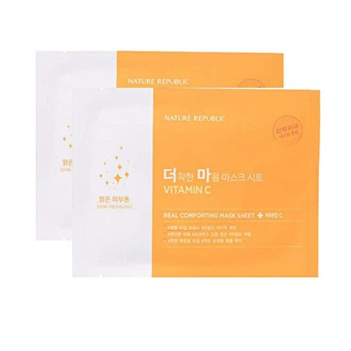 Nature Republic Real Comforting Mask Sheet, 2 Sheet (Vitamin C_Ampoule Type)