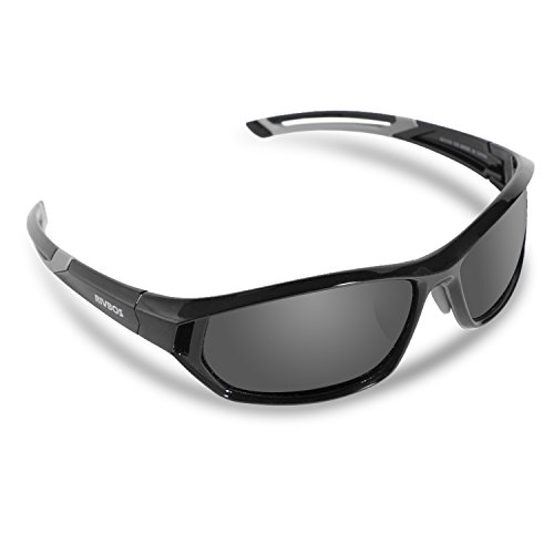 RIVBOS Polarized Sports Sunglasses Driving Comfortable Sun Glasses for Men Women Tr 90 Flexible Frame for Cycling Baseball Running 840 (Black&Grey Coating - Polarized Sunglasses Rivbos