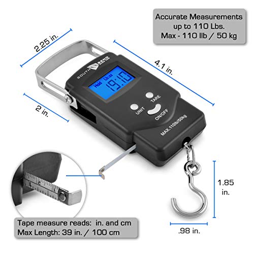 Portable Digital Fish Scale 110lb//50kg Capacity Fishing Scale with Hanging Hook
