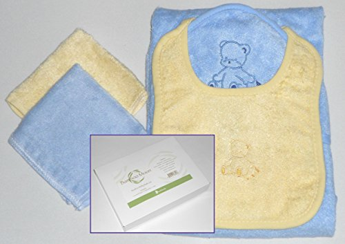 Baby Bath Gift Set. Highest Quality Bamboo Fiber. Hooded BabyTowel, Washcloths (2), and Bib. Silky Soft, Naturally Antibacterial, Hypoallergenic,Durable & Environmentally Friendly. Labor Day Special.