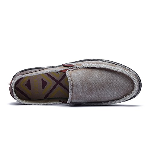 Boat Cloth Shoes Loafers Canvas Khaki Leisure Flat Men's CASMAG Slip Casual Shoes on Vintage 0IPpx7Eq