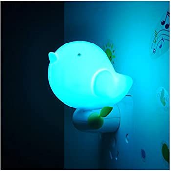 HITOP Cute Bird Shape Design Smart Dusk to Dawn Light Control LED Night Light With Switch (Blue)