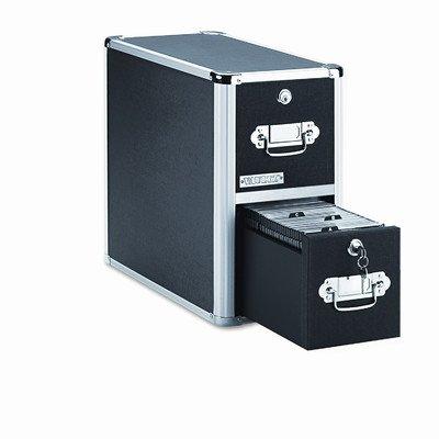 Vaultz VZ01094 2-Drawer CD File Cabinet, Holds 330 Folders or 120 Slim/60 Standard Cases, Black