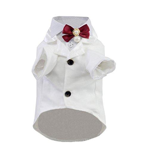 [Sagton® Dapper Dog Pet Costume Puppy Dogs Tuxedo Suit Coat Clothes (XL, White)] (Dapper Dog Tuxedo Pet Costumes)