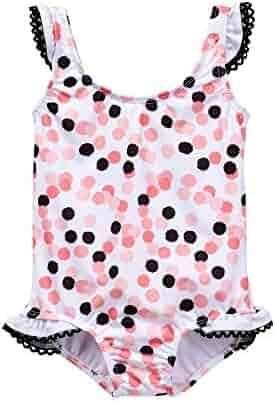 84ff063eb9 Azul Little Girls Black Pink Polka Dot Save My Spot One Piece Swimsuit 2